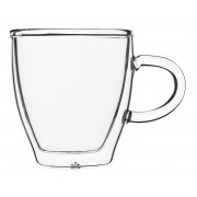 Espresso glass with handle and saucer, double-walled, Enjoy - 0,08l