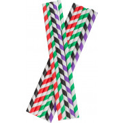Drinking Straws, Paper (8x255mm) - various colors striped