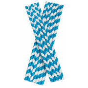 Drinking Straws, Paper (8x255mm) - blue white striped
