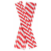 Drinking Straws, Paper (8x255mm) - red white striped