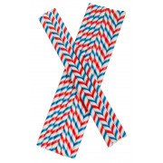 Drinking Straws, Paper (8x255mm) - red white blue striped