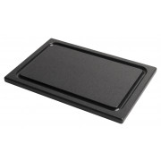 Cutting board, PE with juice rim, 30x20x1,5cm (Prime Bar) - black