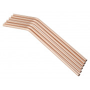 Drinking straws, stainless steel (5x230mm) - copper colored (6 pcs.)