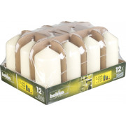 Pillar candles Flame Stop, Bolsius, 12 pcs. - ivory colored (30 h)