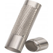 Nutmeg grater with storage compartment - brushed stainless steel