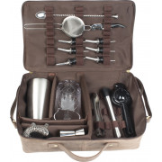 Bartender kit, Prime Bar - brown leather bag with bar tools (basic)