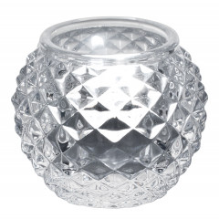 Tealight holder, round - transparent