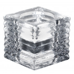 Tealight holder, striped pattern, cube - transparent