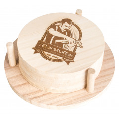 Coaster, natural wood, with personal design - 9,5cm (6 Pcs.)